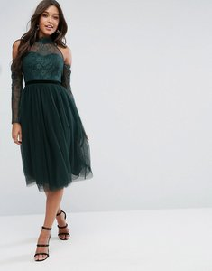 Read more about Asos premium lace top tulle midi prom dress with ribbon ties - green