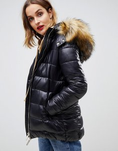 Read more about Gianni feraud quilted jacket with faux fur hood