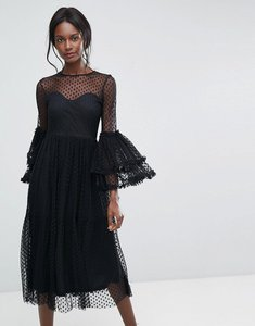 Read more about Lace beads dobbie mesh sheer midi dress with exaggerated sleeve - black