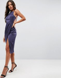 Read more about Asos drape back delicate backless midi dress - navy
