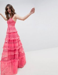 Read more about Needle thread iris layered embroidered cami maxi dress in hot pink - hot pink