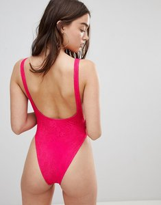 Read more about Motel low back lace pink swimsuit - pink