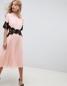 Read more about Asos design lace waist and cuff pleated midi dress - nude