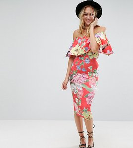 Read more about Asos tall floral ruffle bardot off shoulder midi dress - floral