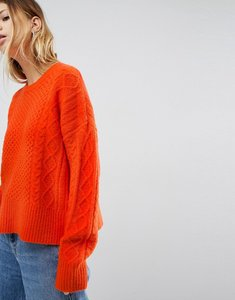 Read more about Asos jumper in fluffy cable in wide sleeve - orange