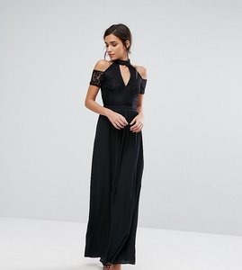Read more about Silver bloom high neck maxi dress with lace top and cold shoulder detail - black