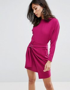 Read more about Asos batwing mini dress with wrap skirt - purple