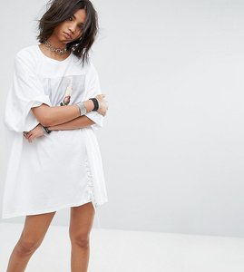 Read more about Milk it vintage oversize t-shirt dress with lace up - white