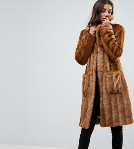 Read more about Asos tall midi coat in pelted faux fur - brown