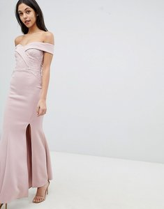 Read more about Lipsy fishtail maxi dress with sequin lace trim
