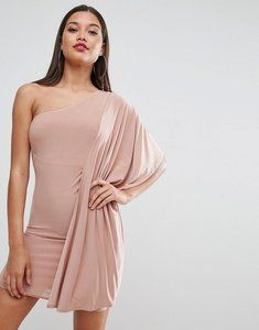 Read more about Asos slinky one shoulder kimono mini dress - champagne