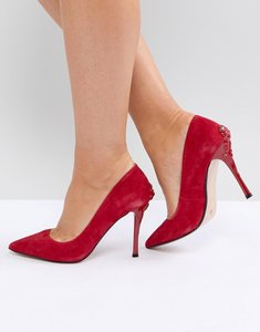 Read more about Dune london buds leather pointed court shoe with rose heel - red