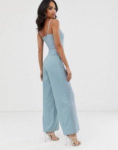 Read more about Little mistress cami strap wide leg jumpsuit with lace detail