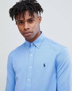Read more about Polo ralph lauren slim fit pique shirt player logo button down in light blue - cabana blue