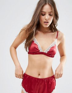 Read more about Asos skye satin lace triangle bra - red