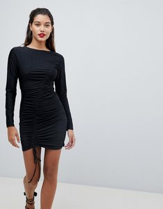 Read more about Ax paris long sleeve ruched mini dress - black