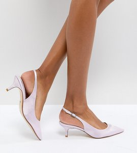Read more about Dune london bridal exclusive cassandra kitten heel sling back shoe in lavendar - lilac