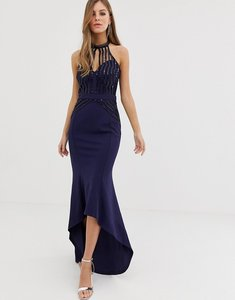 Read more about Lipsy high neck maxi dress with lace placement in navy