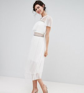 Read more about True decadence tall tulle ruffle midi dress with metal ring detail - white