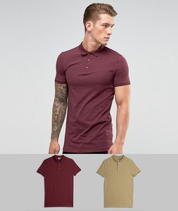 Read more about Asos longline muscle jersey polo 2 pack save - multi