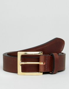 Read more about Asos smart leather slim belt in brown with edge emboss - brown