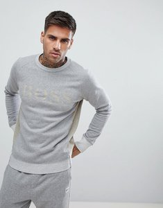 Read more about Boss cut and sew raw edge crew neck sweat in grey - grey