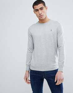 Read more about Polo ralph lauren pima cotton knit jumper crew neck polo player in grey marl - grey heather