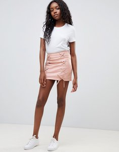 Read more about Glamorous lace up pu skirt - pink pu