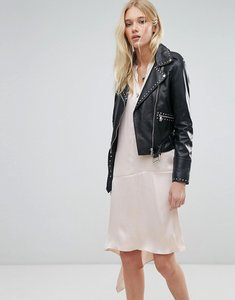 Read more about Lab leather biker jacket with stud detail and belt - black