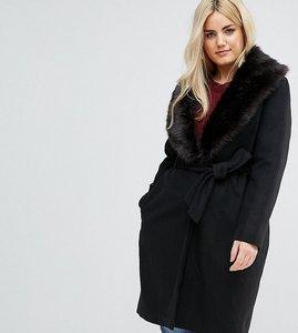 Read more about Brave soul plus ada long coat with detachable faux fur collar - black