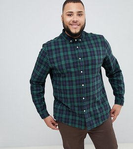 Read more about Asos design plus stretch slim check shirt in green - navy