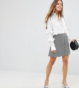 Read more about Asos petite gingham print skater skirt - multi