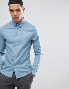 Read more about Asos design skinny shirt in blue with button down collar - blue
