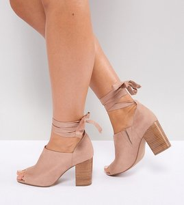 Read more about Asos omen wide fit tie leg heeled shoes - nude