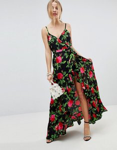 Read more about Asos ruffle front wrap maxi cami dress in bold floral - multi