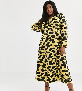 Read more about Asos design curve exclusive wrap maxi dress in cow animal print