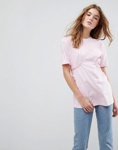 Read more about Asos t-shirt with shirred waist and mini lace ruffle - nude