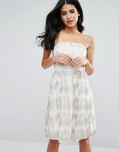 Read more about Little mistress sequin bandeau fit and flare dress - cream