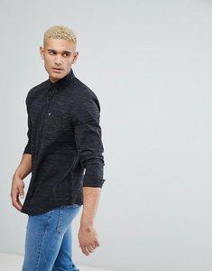 Read more about Hollister logo pocket textured slim fit shirt in black - black