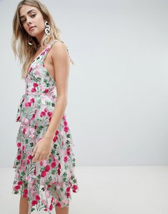Read more about Missguided premium rose embroidered tiered midi dress - pink