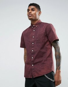 Read more about Asos regular fit acid wash shirt with abrasions in burgundy - burgundy