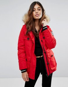 Read more about Brave soul riverdale heavy parka with rubberised trims - red