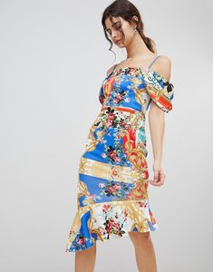 Read more about Asos design scuba cold shoulder printed trophy square neck midi dress - multi