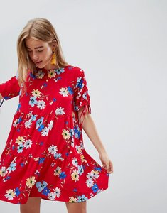 Read more about Qed london floral print shift dress - red