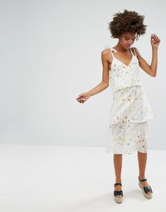 Read more about Monki botanical floral layered midi dress - off white