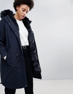 Read more about Parka london connie military parka coat with faux fur lining - navy