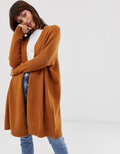 Read more about Asos design eco oversize cardigan in fluffy yarn - camel