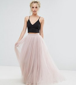 Read more about Little mistress petite maxi tulle prom skirt - mink