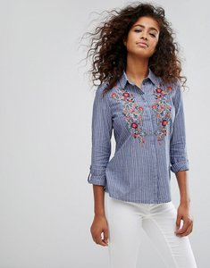 Read more about Esprit floral embroidered shirt - blue