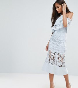 Read more about Jarlo tall cold shoulder cutwork lace midi dress - soft blue
